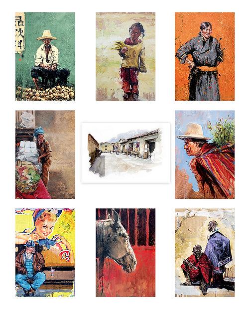 Lot 9 cartes postales 10x15 cm série 2