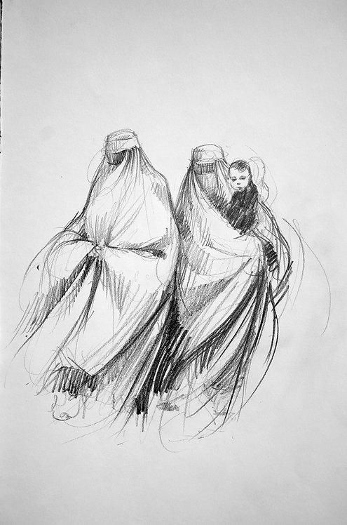 Afghanistan, Les Hirondelles de Kaboul, Femmes en burka et enfant (42 x 30 cm)