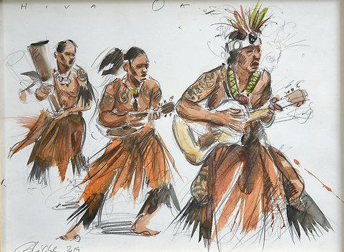 Polynésie, Danse d'accueil à Hiva Oa, aux Marquises (30 x 40 cm)