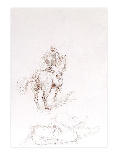 Zingaro, Bartabas ailé à cheval (42 x 30 cm)