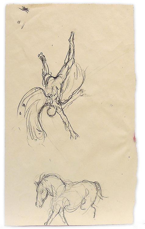 Zingaro, La chute de l'ange et le cheval (53 x 31 cm)