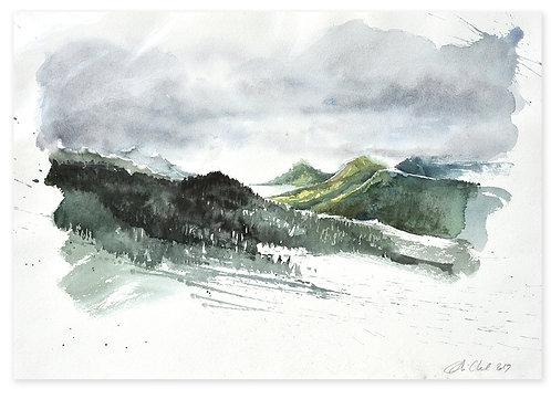 Polynésie, Montagnes à Rapa, aux Australes (53 x 51 cm)