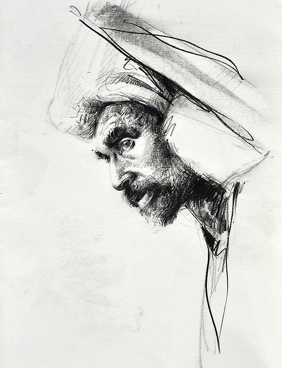 Emmanuel Michel peintre dessin Sri Lanka homme de profil