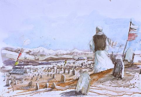 Afghanistan, Les Hirondelles de Kaboul, Cimetière de Kaboul (40 x 31 cm)