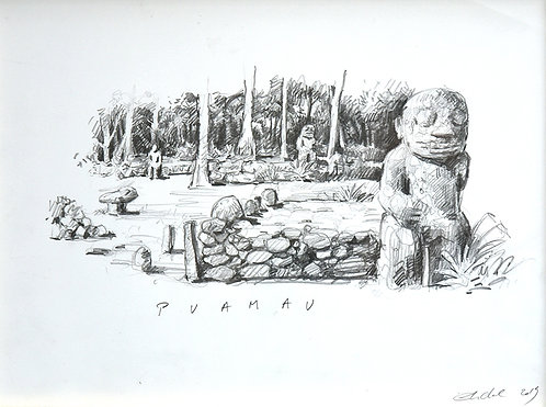 Polynésie, Tiki Puamau à Hiva Oa aux Marquises (40 x 30 cm)