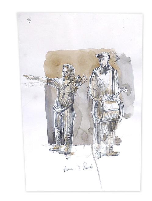 Zingaro, Répétition des musiciens (42 x 29 cm)