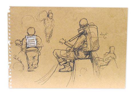 Zingaro, Etude de musiciens (29 x 42 cm)