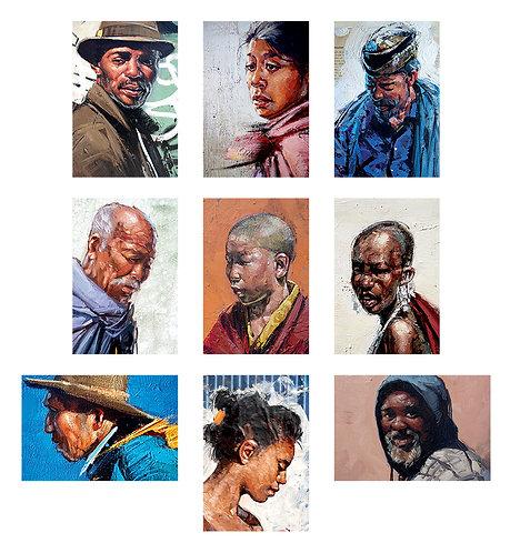 Lot 9 cartes postales 10x15 cm Portraits