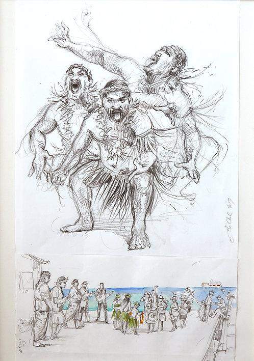 Polynésie, Danseur de Rapa, archipel des Australes (70 x 50 cm)
