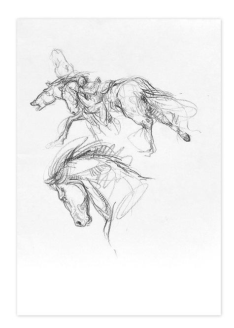 Zingaro, Voltigeur et cheval (42 x 30 cm)