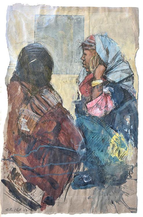 Tunisie, Marchandes (61 x 40 cm)
