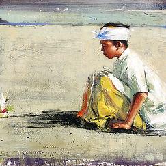 Emmanuel Michel peinture enfant en prière Indonésie