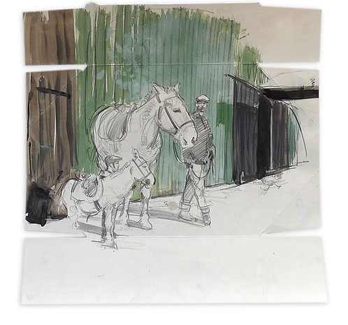 Zingaro, L'âne et la mule (39 x 39 cm)