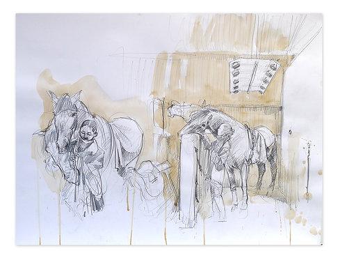 Zingaro, Chevaux à l'écurie (50 x 65 cm)