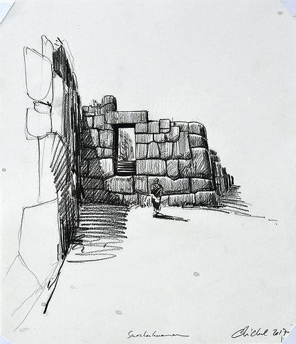 Pérou, Sacsayhuamán forteresse inca (35 x 29 cm)