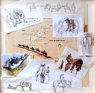 Le tour du Mont Blanc à cheval (dessins pour le film documentaire)