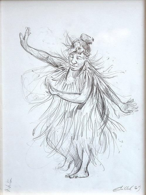Polynésie, Danseuse de Mangareva, aux Gambiers (40 x 30 cm)