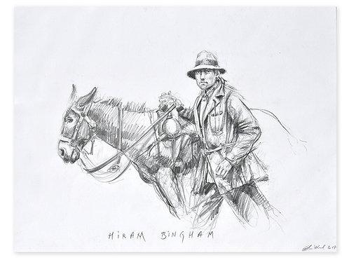 Pérou, Hiram Bingham au Machu Picchu (36 x 47 cm)
