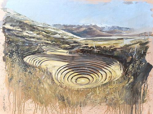 Pérou, Terrasses circulaires incas de Moray  (80 x 60 cm)