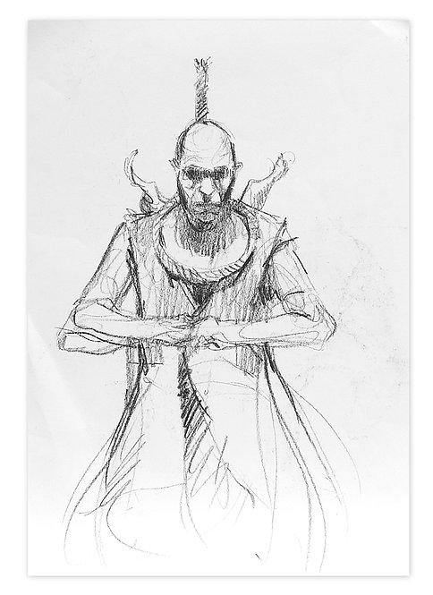Zingaro, Bartabas la corde au cou (42 x 30 cm)