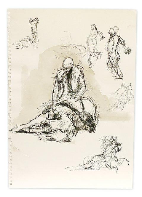 Zingaro, Bartabas assis sur son cheval couché (42 x 30 cm)