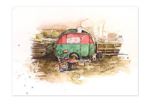 Zingaro, Petite caravane (30 x 42 cm)