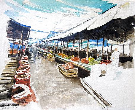 Azerbaïdjan, Le marché à Bakou (37 x 46 cm)