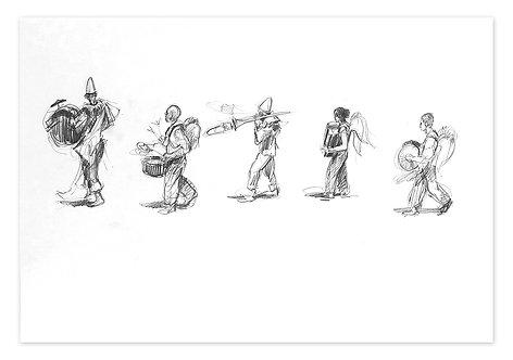 Zingaro, Procession de musiciens 3 (42 x 60 cm)