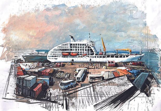 TAHITI, Arrivée à Papetee