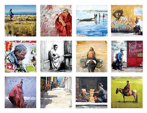 Lot 12 cartes postales 15x15 cm série 2