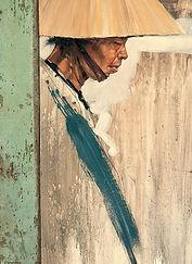 Emmanuel Michel peinture Vietnam chapeau conique homme de profil