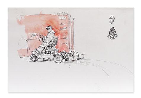 Zingaro, L'entretien de la piste (29 x 42 cm)
