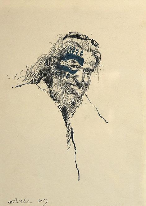 Polynésie, Homme à l'oeil tatoué, Tahiti (50 x 40 cm)