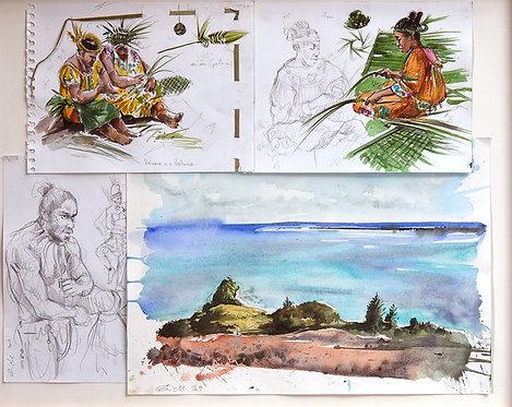 Polynésie, Femmes sur l'île d'Aukena aux Gambiers (75 x 60 cm)