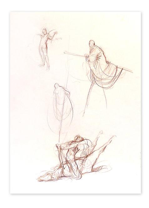Zingaro, Cheval couché et burka (42 x 30 cm)