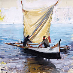 Emmanuel Michel peinture Madagascar départ pour la pêche - barque à voile
