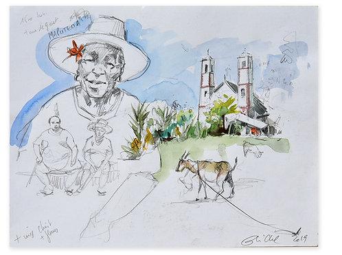 Polynésie, Paysage et habitants de Mangareva aux Gambiers (24 x 31 cm)