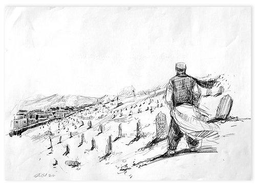 Afghanistan, Les Hirondelles de Kaboul, Vue du cimetière (42 x 58 cm