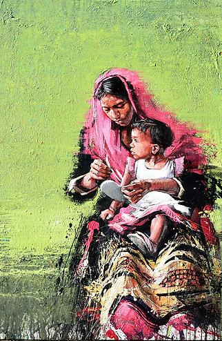 Emmanuel Michel peinture Sri Lanka femme et enfant