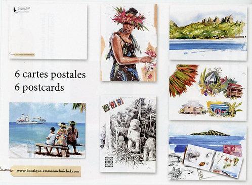 Lot 6 cartes postales 10x15 cm Tahiti