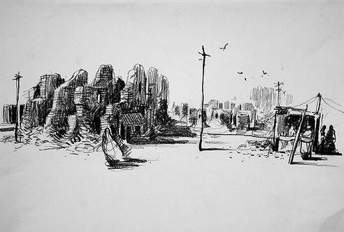 Afghanistan, Les Hirondelles de Kaboul, Kaboul en ruine (30 x 42 cm)
