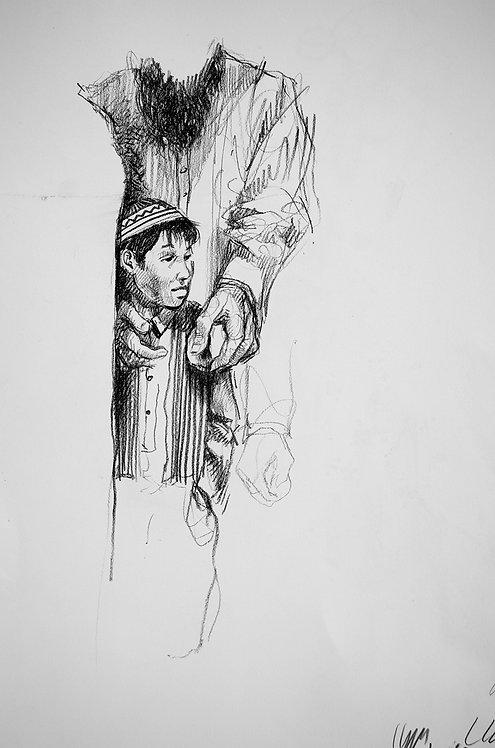 Afghanistan, Les Hirondelles de Kaboul, Père et fils (40 x 25 cm)