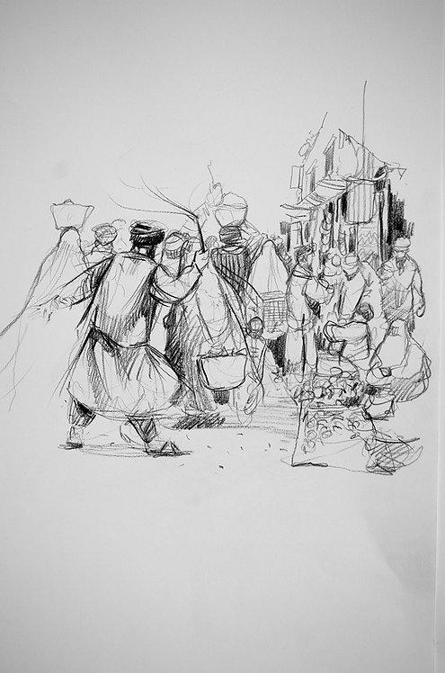 Afghanistan, Les Hirondelles de Kaboul, Talibans dans le souk (40 x 30 cm)