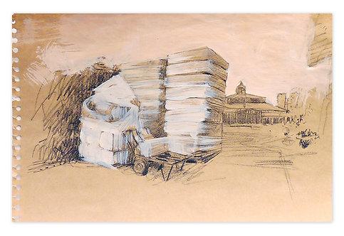 Zingaro, Les foins vers l'écurie (29 x 42 cm)