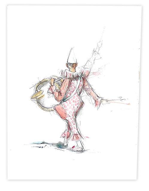 Zingaro, Clown musicien de dos ( 30 x 23 cm)