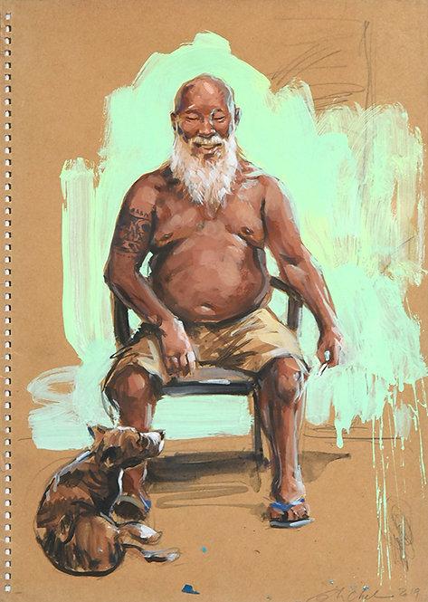Polynésie,Tahitien et son chien (50 x 40 cm)