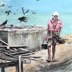 Emmanuel Michel peinture Sri Lanka, Negombo, bord de mer