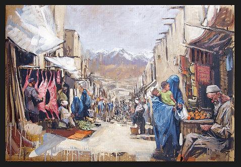 Afghanistan, Les Hirondelles de Kaboul, Vue du souk de Kaboul (65 x 94 cm)