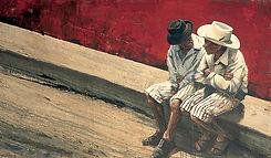 Emmanuel Michel peinture Guatemala conversation entre deux hommes