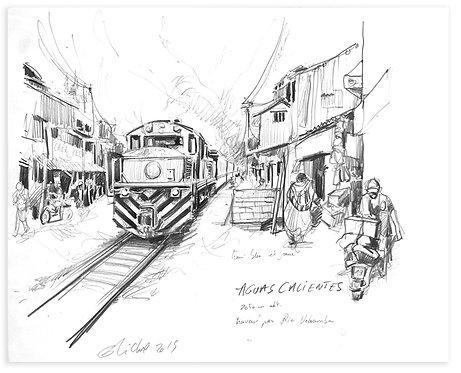 Pérou, Le train d'Aguas Caliente (42 x 30 cm)